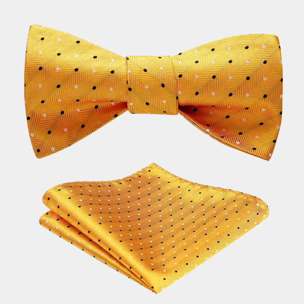 Gold Yellow Polka Dot Bow Tie Set from Gentlemansguru.com