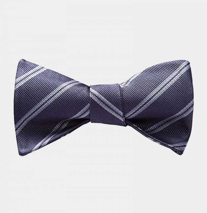 Gray Striped Bow Tie For Men from Gentlemansguru.com