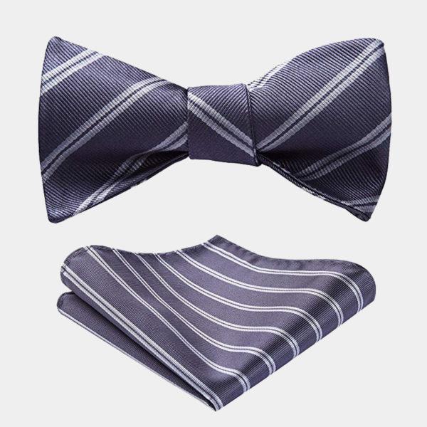 Gray Striped Bow Tie Set from Gentlemansguru.com