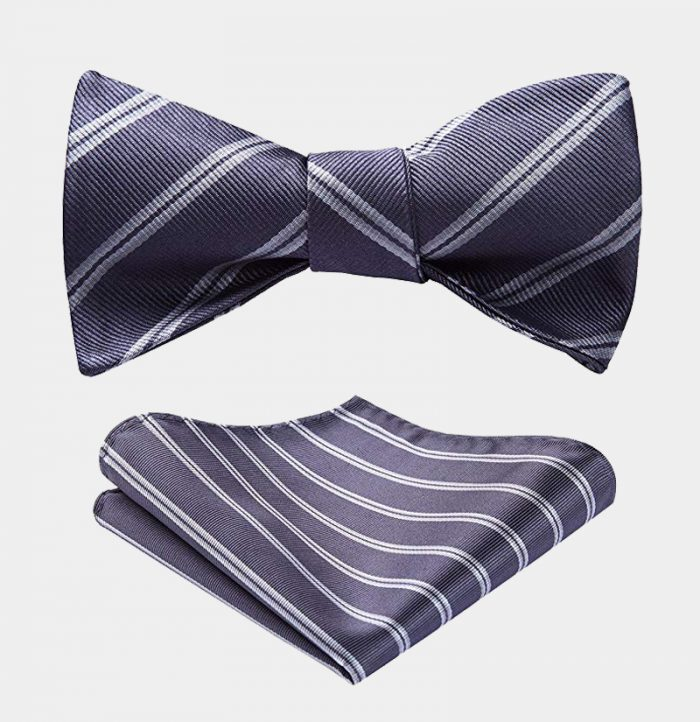 Gray Striped Bow Tie Set from Gentlemansguru.com