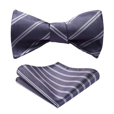 Gray Striped Bow Tie Set