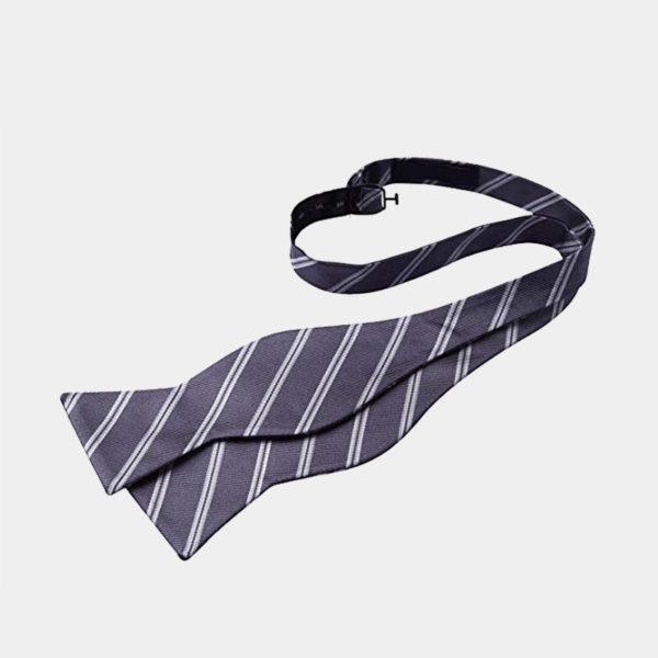 Gray Striped Self-Tie Bow Tie For Men from Gentlemansguru.com