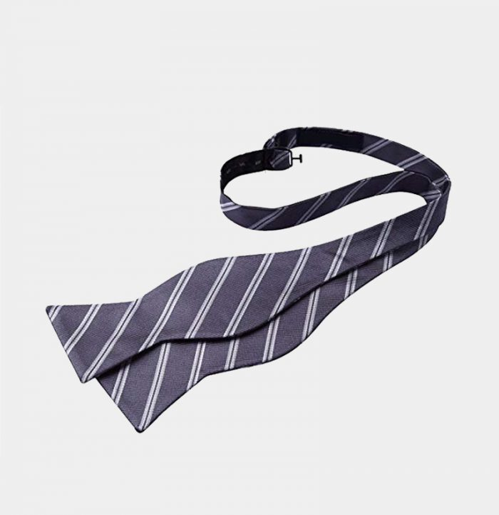Gray Striped Self-Tie Bow Tie For Men from Gentlemansguru.com