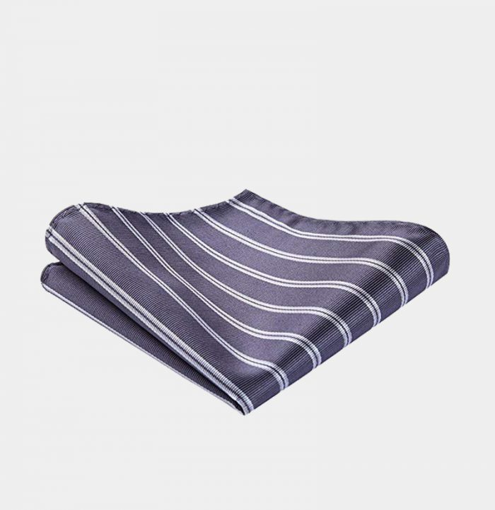 Gray Striped Square-Handkerchief from Gentlemansguru.com