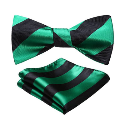 Green And Black Striped Bow Tie Set