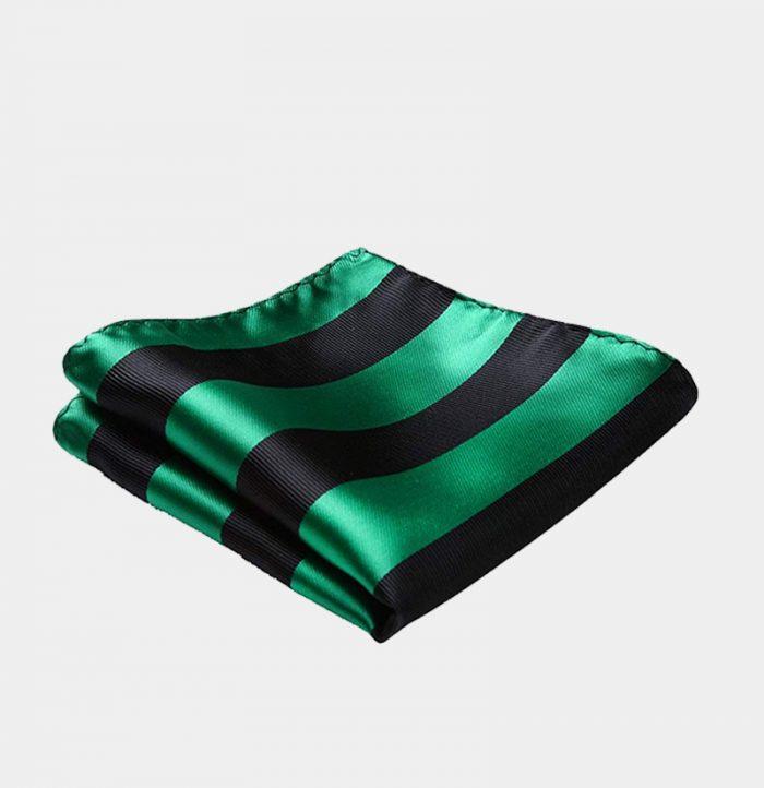 Green And Black Striped Pocket Square-Handkerchief from Gentlemansguru.com