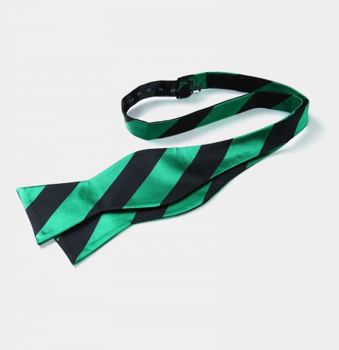 Green-And-Black Striped Self-Tie Bow Tie from Gentlemansguru.com