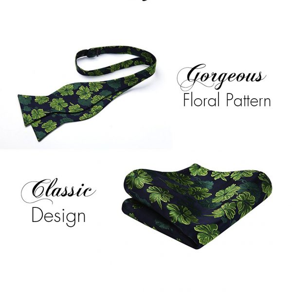 Green Floral Bow Tie And Pocket Square