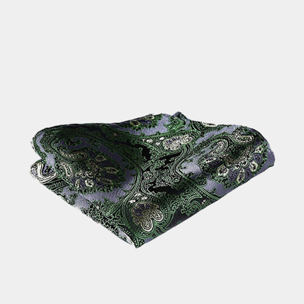 Green Paisley Pocket Square-Handkerchief from Gentlemansguru.com