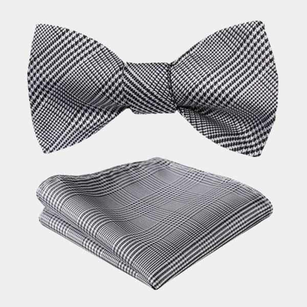 Houndstooth Gray Plaid Bow Tie Set-from Gentlemansguru.com