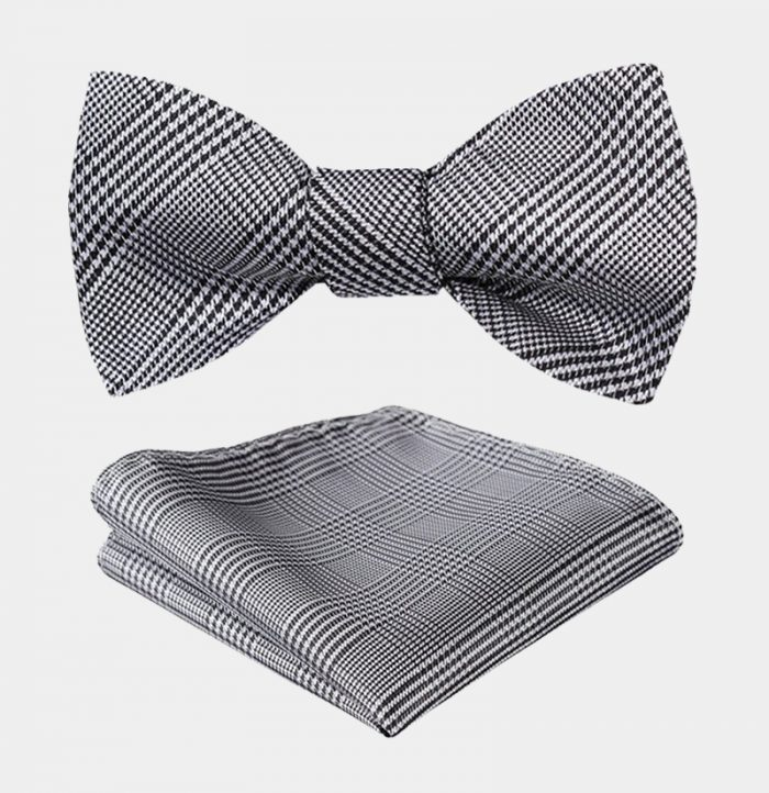 Houndstooth Gray Plaid Bow Tie Set-from Gentlemansguru.com