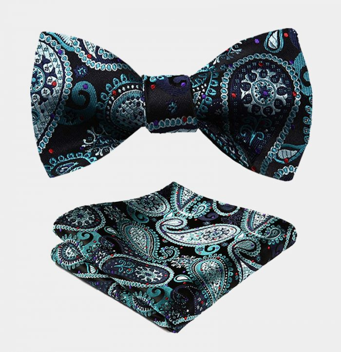 Hunter Green Paisley Bow Tie Set from Gentlemansguru.com