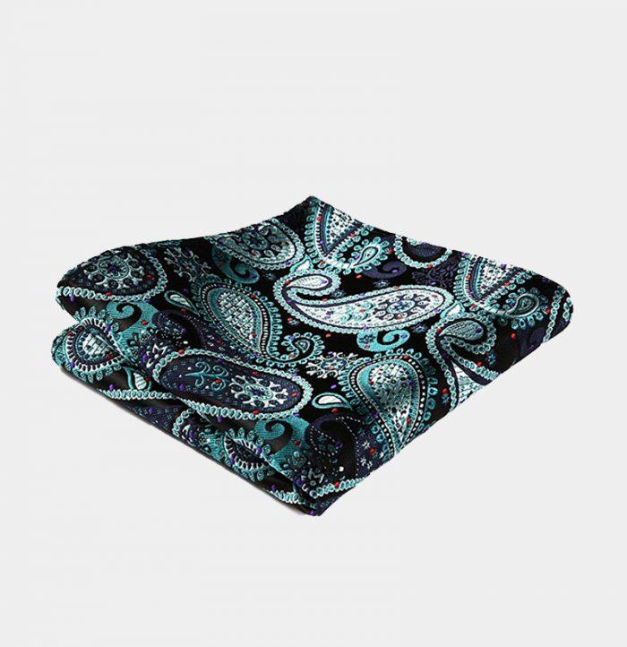 Hunter Green Paisley Pocket-Square-Handkerchief from Gentlemansguru.com