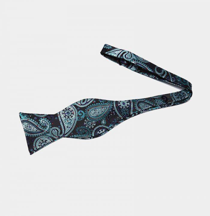 Hunter Green Paisley Self-Tie Bow Tie from Gentlemansguru.com