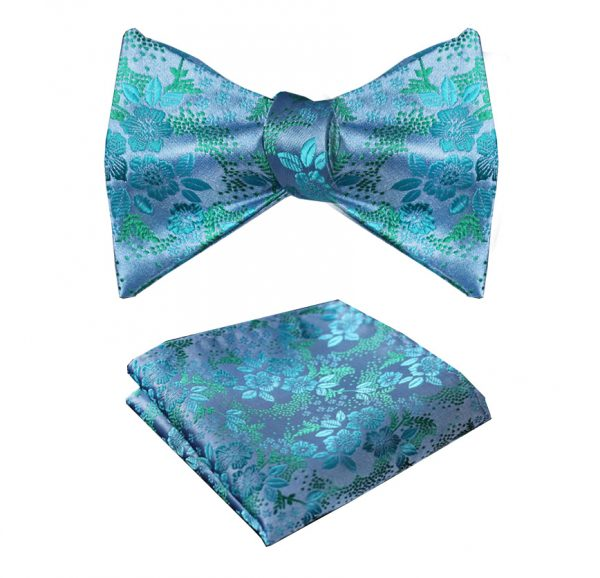 Light Blue Floral Bow Tie Set