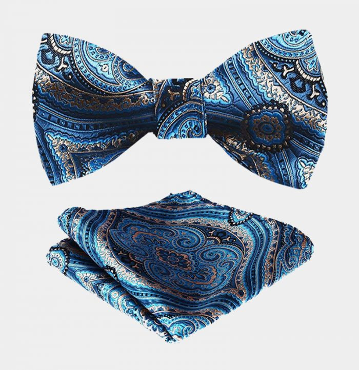 Light Blue Paisley Bow Tie And Pocket Square Set from Gentlemansguru.com