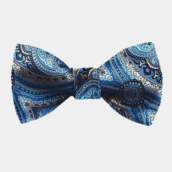 Light Blue Paisley Bow Tie For Men from Gentlemansguru.com