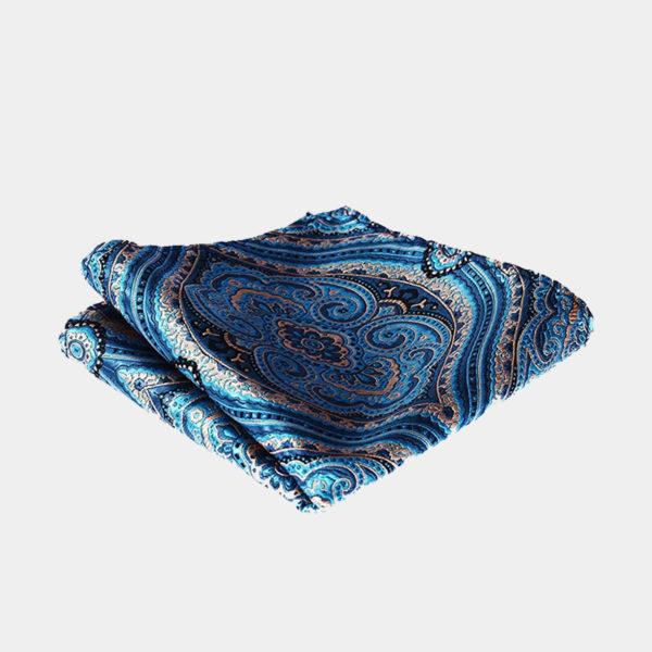 Light Blue Paisley Pocket-Square-Handkerchief from Gentlemansguru.com