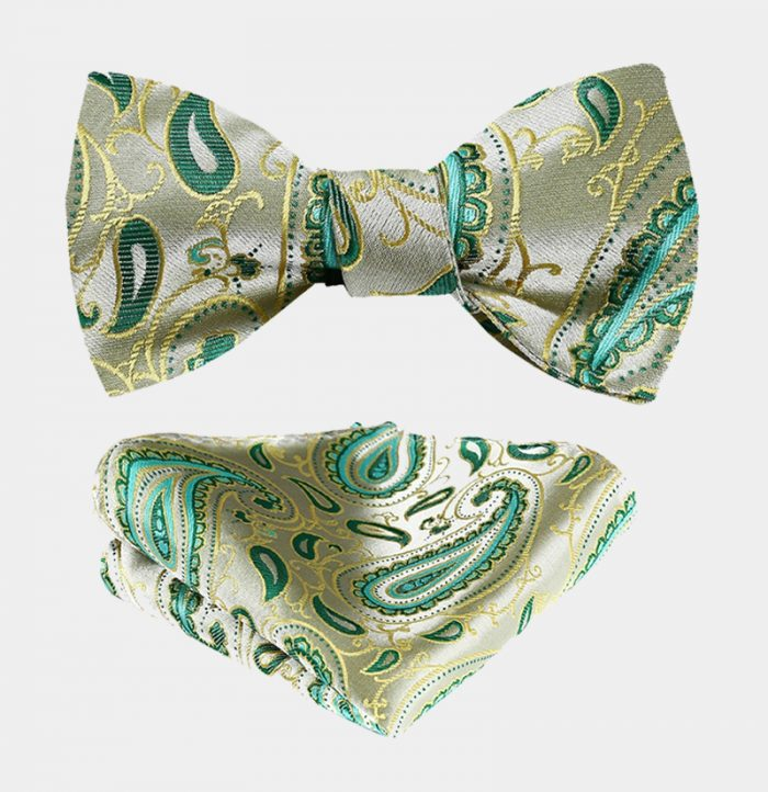 Lime Green Paisley Bow Tie And Pocket Square Set from Gentlemansguru.com