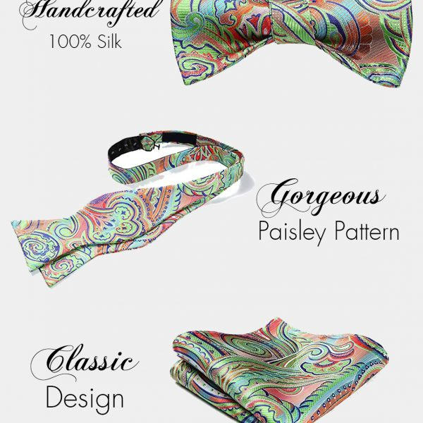 Lime Green Paisley Bow Tie And Pocket Square Set