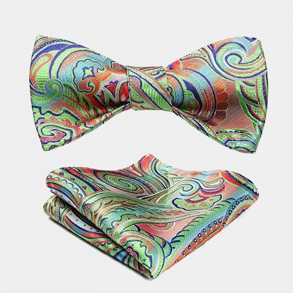 Lime Green Paisley Bow Tie And Pocket Square
