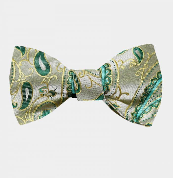 Lime Green Paisley Bow Tie For Men from Gentlemansguru.com