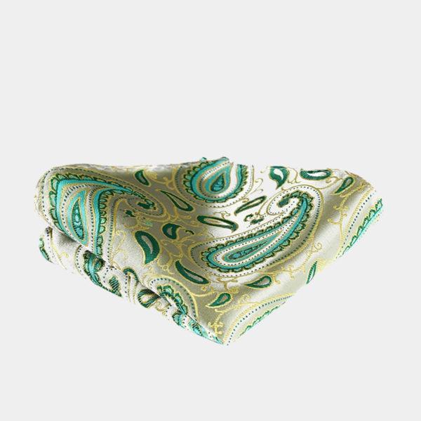 Lime Green Paisley Pocket-Square-Handkerchief from Gentlemansguru.com