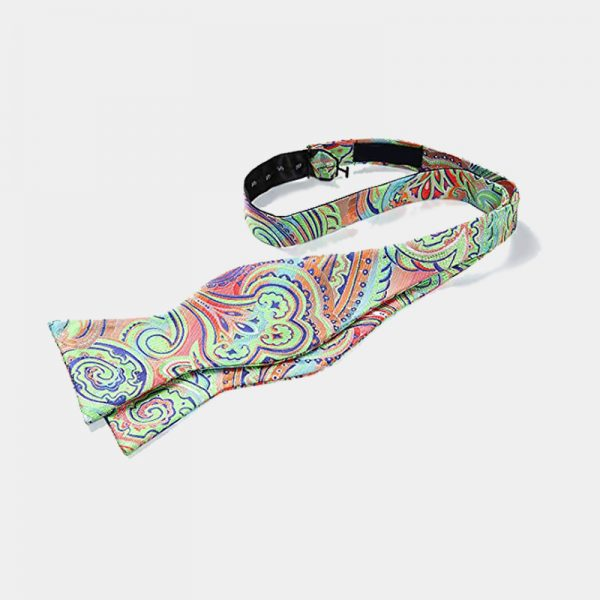 Lime Green Paisley Self Tie Bow Tie