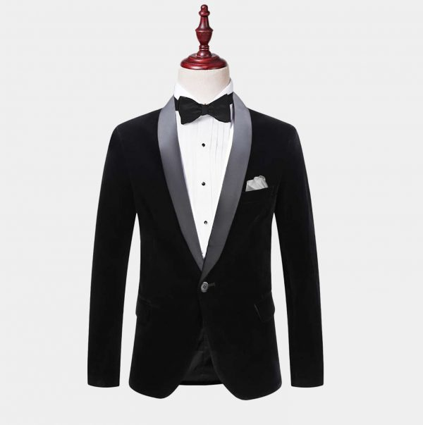 Mens Black Velvet Tuxedo Jacket With Shawl Collar