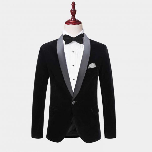 Mens Black Velvet Tuxedo Jacket With Shawl Collar