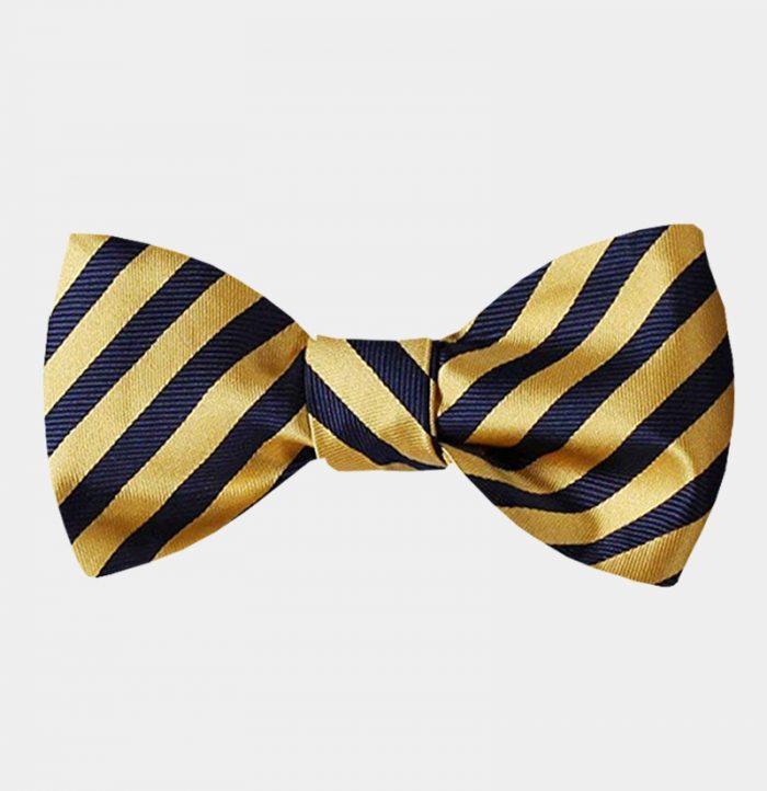 Mens Gold Striped Bow Tie-Sale-from Gentlemansguru.com