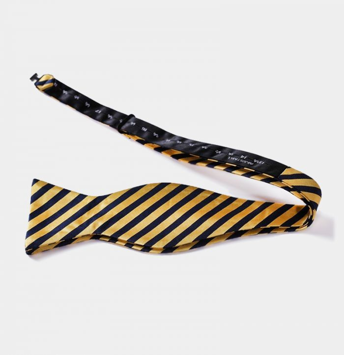 Mens Gold Striped Self-Tie Bow Tie from Gentlemansguru.com