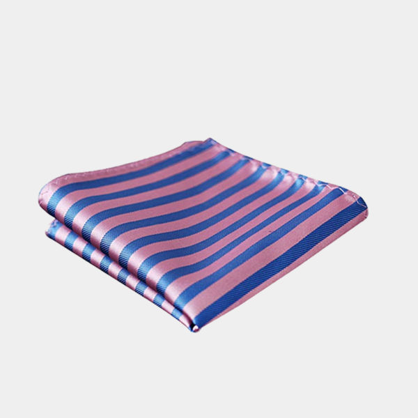 Mens Pink And Blue Striped Pocket-Square-Handkerchief-from Gentlemansguru.com