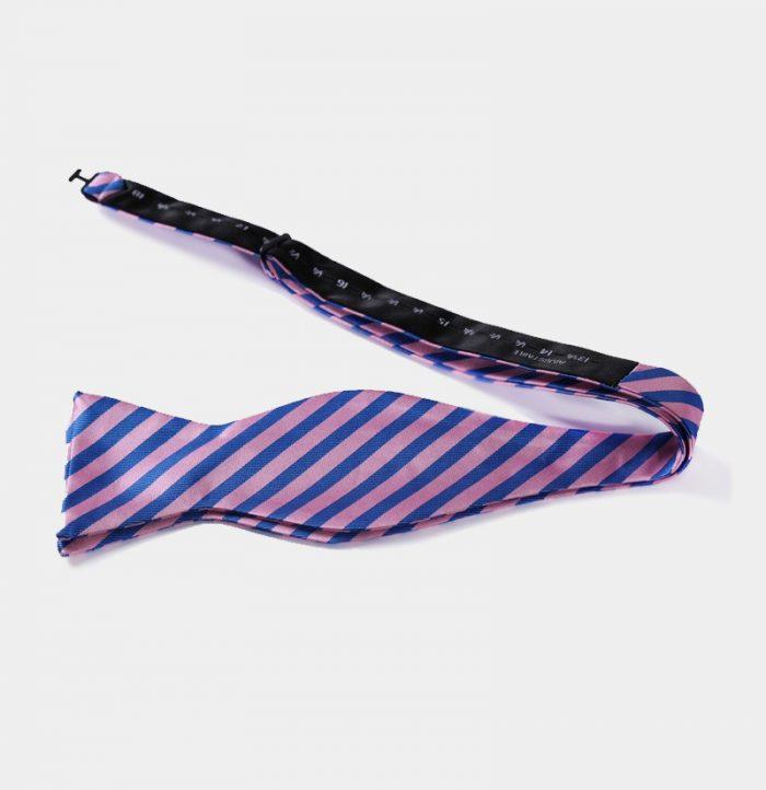 Mens Pink and Blue Striped Self-Tie Bow Tie from Gentlemansguru.com