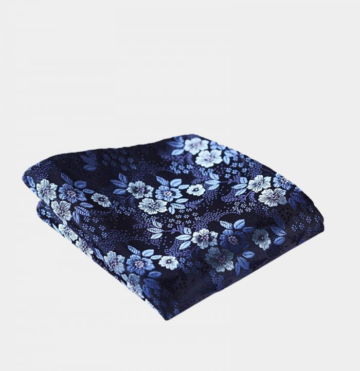Navy Blue Floral Pocket-Square-Handkerchief from Gentlemansguru.com