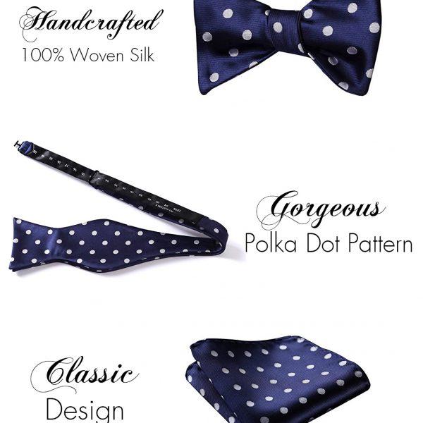 Navy Polka Dot Bow Tie And Pocket Square Set
