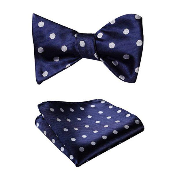 Navy Polka Dot Bow Tie Set
