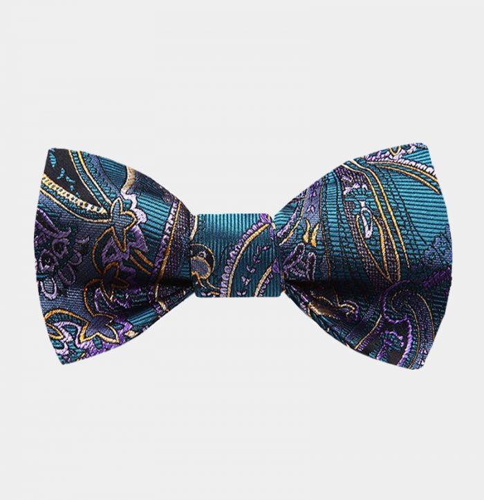 Ocean Blue Paisley Bow Tie For Men from Gentlemansguru.com