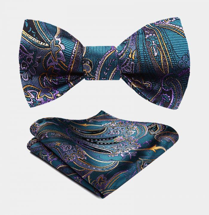 Ocean Blue Paisley Bow Tie Set With Gold from Gentlemansguru.com