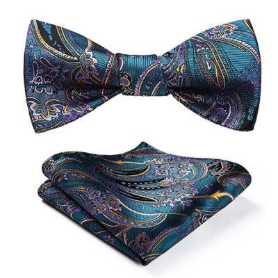 Ocean Blue Paisley Bow Tie Set
