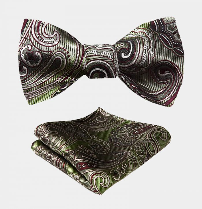 Olive Green Paisley Bow Tie And Pocket Square Set from Gentlemansguru.com