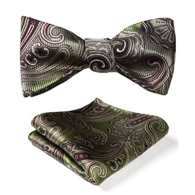 Olive Green Paisley Bow Tie And Pocket Square