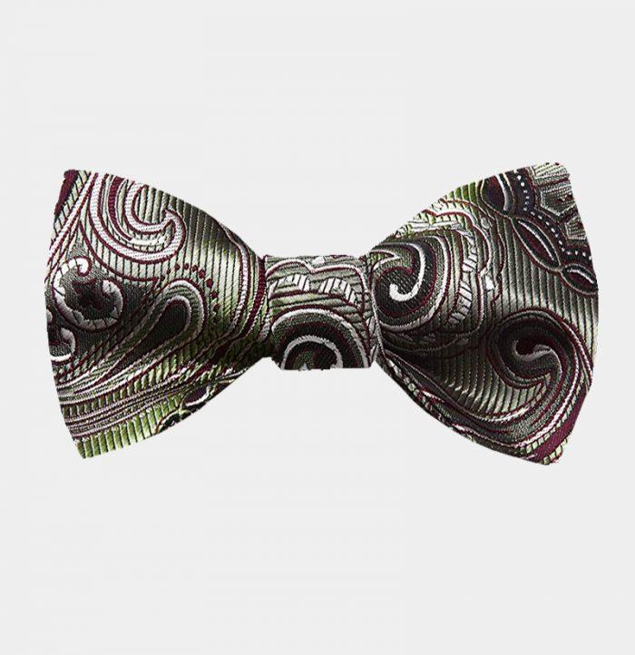 Olive Green Paisley Bow Tie For Men from Gentlemansguru.com