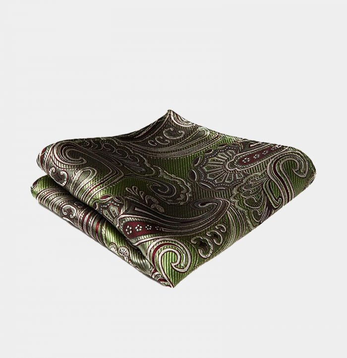 Olive Green Paisley Pocket-Square-Handkerchief from Gentlemansguru.com