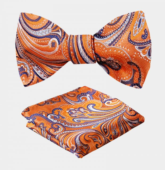 Orange Paisley Bow Tie And Pocket Square Set from Gentlemansguru.com