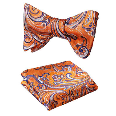 Orange Paisley Bow Tie And Pocket Square