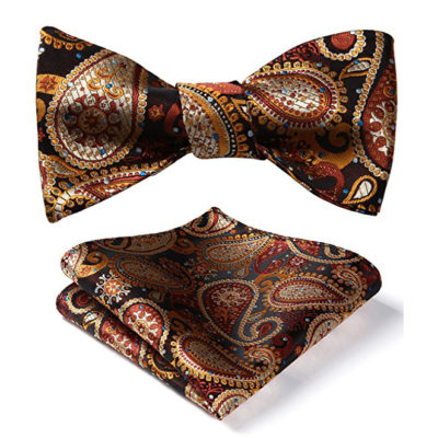 Burnt Orange Paisley Bow Tie Set