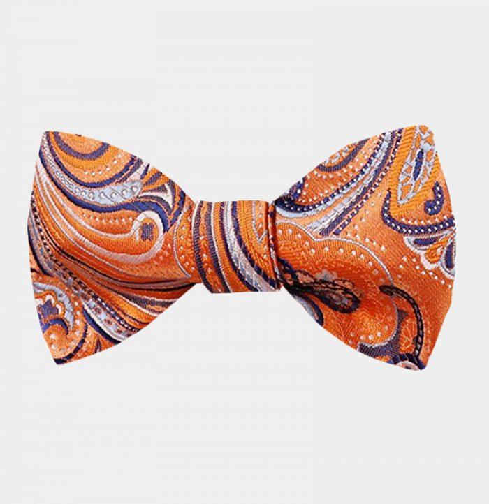 Orange Paisley Bow Tie For Men from Gentlemansguru.com
