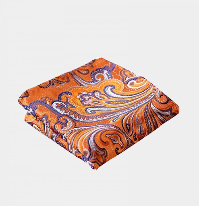 Orange Paisley Pocket-Square-Handkerchief from Gentlemansguru.com