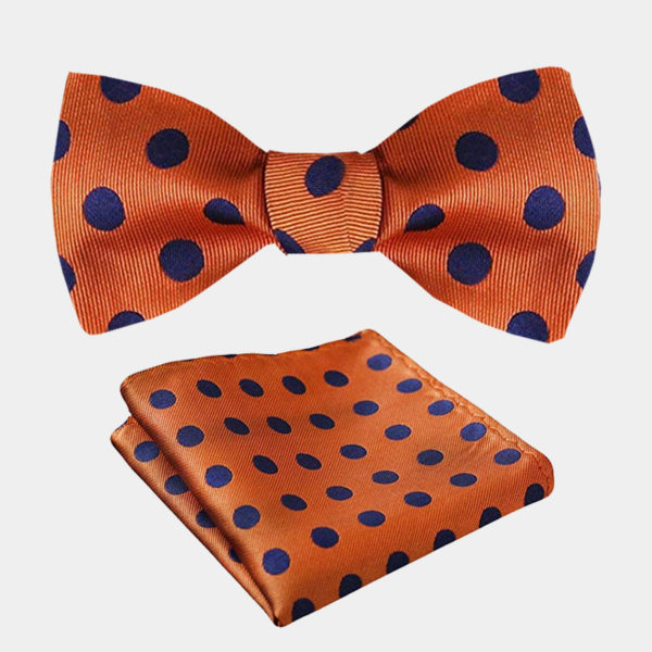 Orange Polka Dot Bow Tie Set from Gentlemansguru.com